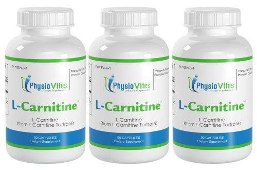 L-Carnitine Amino Acid from L-Carnitine Tartrate PhysioVites L-Carnitine 1000mg 270 Capsules 3 Bottles