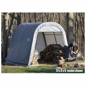 ShelterLogic Round Style Shed/Storage Shelter - Green, 16ft.L x 8ft.W x 8ft.H, Model# 76824 (Motorcycle Storage Tent compare prices)