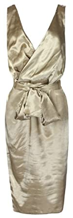 Lindy Bop Glamourous Vintage 1950's Marilyn Monroe Style Gold Satin Pencil Wiggle Dress (3XL)