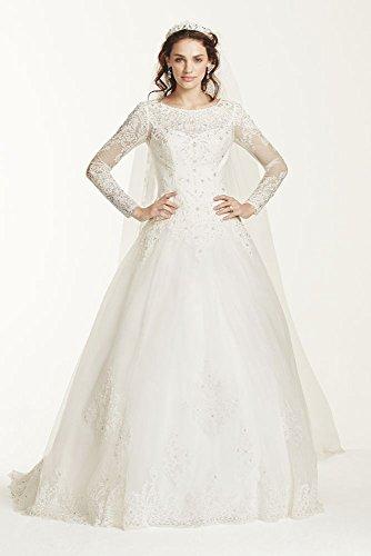 Jewel Long Sleeve Drop-Waist Tulle Wedding Dress Style WG3726, Soft White, 10