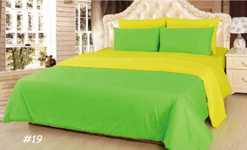 Tache 6 Piece 100% Cotton Solid Yellow And Green Summer Day Reversible Comforter Set-King front-892506