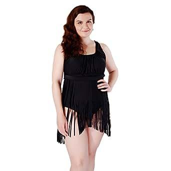 Foclassy Women Plus Size One Piece Fashion Tassel Slim