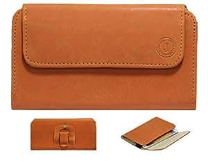 Jo Jo A4 Nillofer Belt Case Mobile Leather Carry Pouch Holder Cover Clip For Motorola Moto G (3rd Gen) 8 GB Tan