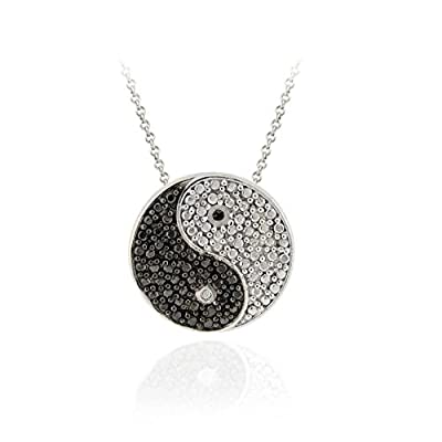 Sterling Silver Black Diamond Accent Yin Yang Slide Pendant