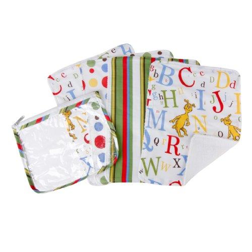 Trend Lab Dr. Seuss Zipper Pouch And Four Burp Cloth Gift Set, Abc front-942378