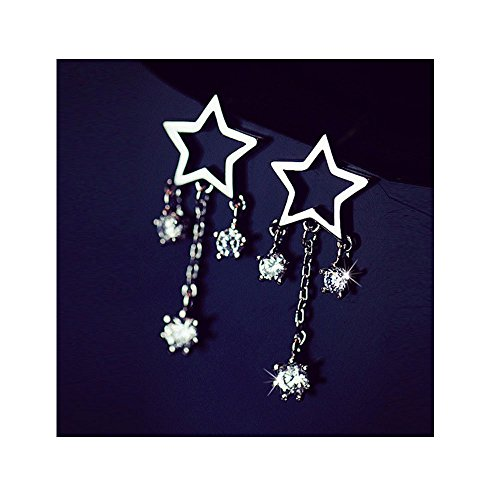 [Mr Ribbt Girls Jewelry Five-pointed Star Hollow Tassel Earings] (Billiard Girl Costume)