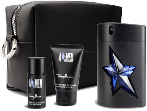 Thierry Mugler Angel Set (Eau De Toilette Spray Rubber Bottle, Hair/Body Shampoo, Deodorant Stick And Toiletry Bag)