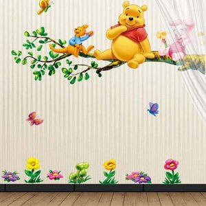 Winnie the Pooh and Tiger Sitting on the Branch (2 pages) Mural Wall Stickers Home Art Deco Wall Decals