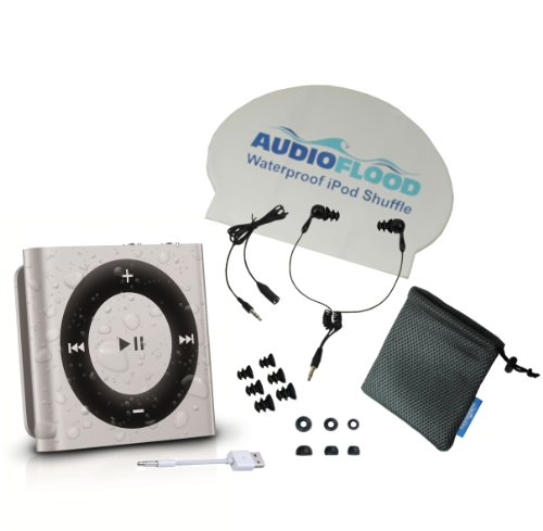 Waterproof Apple Ipod Shuffle By Audioflood With True Short Cord Headphones - Highest Rated Waterproof Mp3 Player On Amazon (Silver)