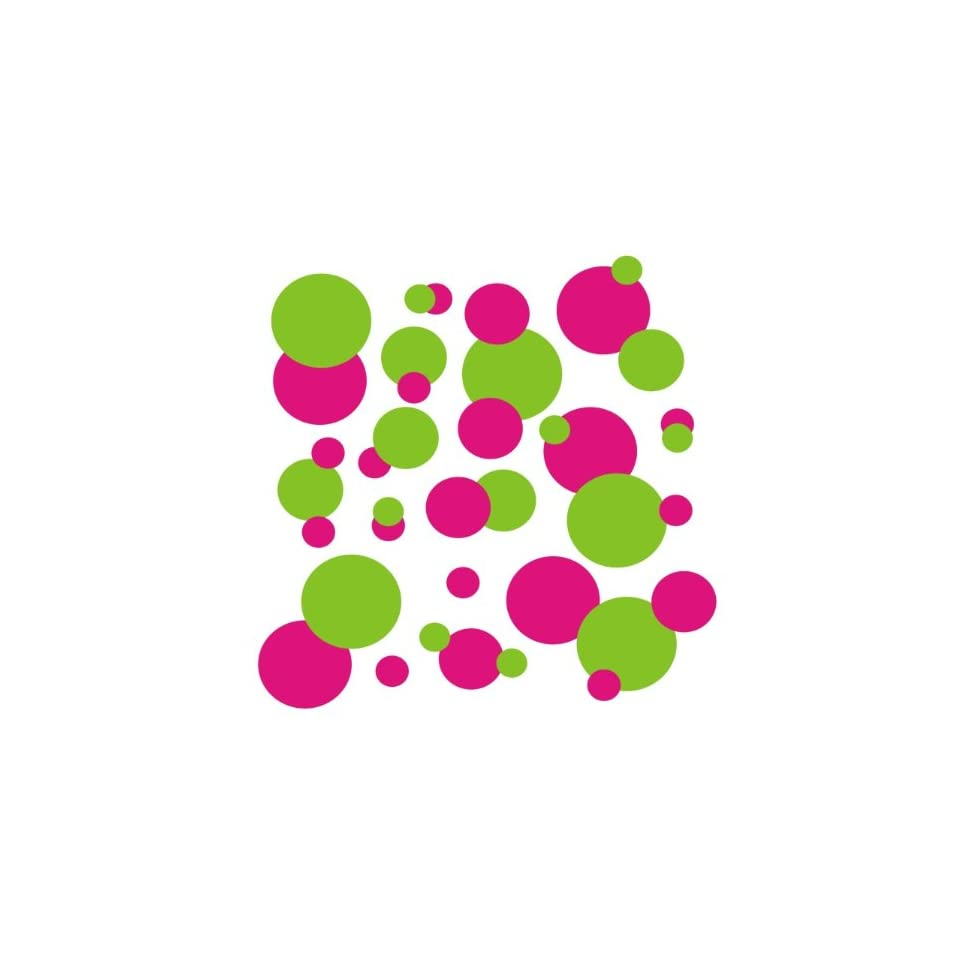 set of 106 Hot Pink and Lime Green polka dots Vinyl wall lettering stickers quotes and sayings home art decor kit peel stick mural graphic appliques decal