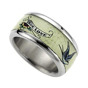 Wildcat 347070041-016 - True Love - Anillo unisex de acero inoxidable (talla: 10)