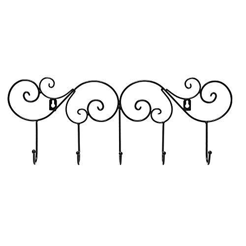 Scrollwork Design Black Metal Wall Mounted Garment Hanger Organizer Rack w/ 5 Coat Hooks - MyGift®