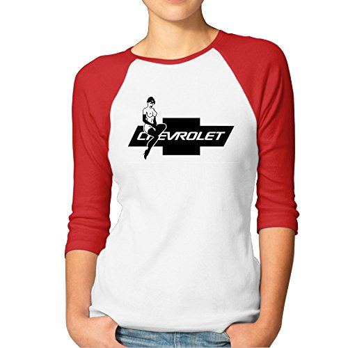 MYKKI Chevrolet Hot Lady Chevy Logo Women's Sport Shirt Red XXL (Bose Silverado Speakers compare prices)