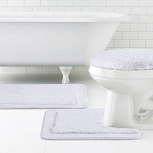"""Lifewit Soft 3 Piece Bath Toilet Mat Set 20""""x32"""" Bath Mat, 20""""x20"""" Contour Mat, 15""""x15"""" Lid Cover White"""