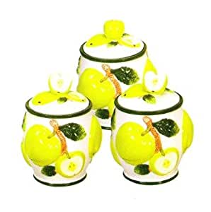 green apple 3d canisters set of 3 new canister kitchen home. Black Bedroom Furniture Sets. Home Design Ideas