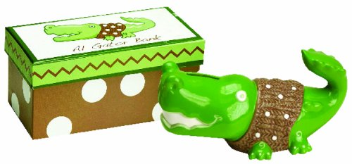 Manual Woodworkers Ceramic Money Bank in a Gift Box, Al Gator, 6 Long