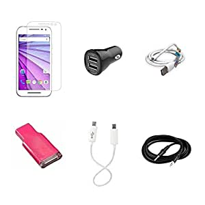 High Quality Combo of Moto G3 Temper Glass + Car Charger 2 USB + USB Data Cable + Card Reader + Android to Android Charging Cable