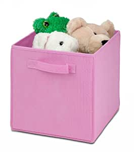 Honey-Can-Do SFT-01762 Kids Storage Bins, Soft and Foldable Organizers, Pink