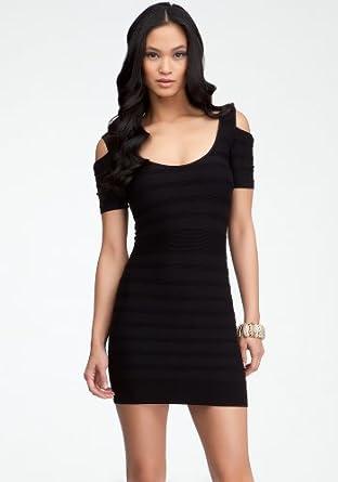 bebe Cold Shoulder Ottoman Stripe Dress Tubular Blk-p/s