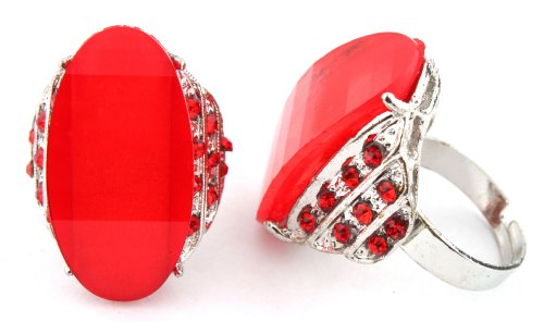Ladies Red Curved Shape Glittered Center with Surrounding Stones Metal Adjustable Finger Ring