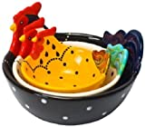 Housewares International 3-Piece Hand-Painted Ceramic Rooster Serving Bowls