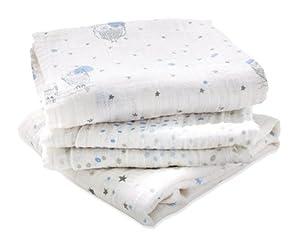 aden + anais 7206G - Pack de 3 paños multiuso, prelavados con muselina de 100% algodón marca 0 - Bebe Hogar