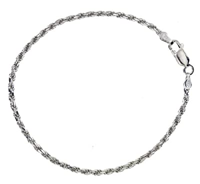 "Tuscany Silver Diamond Cut Rope Bracelet 18cm/7"""