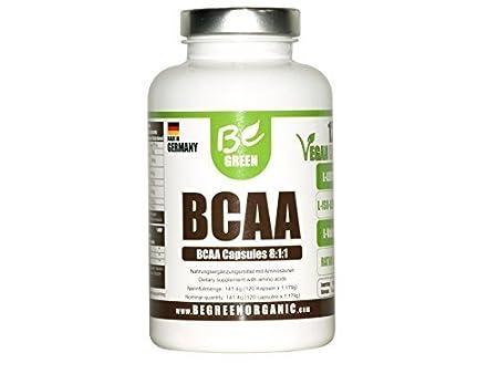 Be Green BCAA - 120 Kapseln Vegan – Verhältnis 8:1:1 (Leucin:Isoleucin:Valin) – Nahrungsergänzungmittel mit Aminosäuren