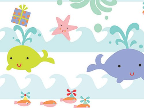 Sea Babies Baby Girl Or Boy Gift Wrap Wrapping Paper 16 Foot Roll