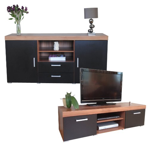 Black Walnut Sydney Large Sideboard Tv Cabinet 140cm Unit