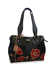 Arpera Floral Genuine Leather Handbag Black C11334-1B