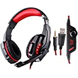 Each G9000 Gaming Headset, Ce Store Over Ear 3.5mm Combo Gaming Stereo Noise Isolation Headset Headband Earphones With Volume Control Mic For Laptop Tablet Computer Pc Mobile Phones Black + Red