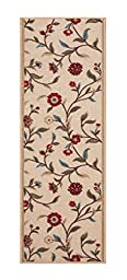 Custom Size BEIGE Floral Leaves Rubber Backed Non-Slip Hallway Stair Runner Rug Carpet 31 inch Wide Choose Your Length 31in X 13ft