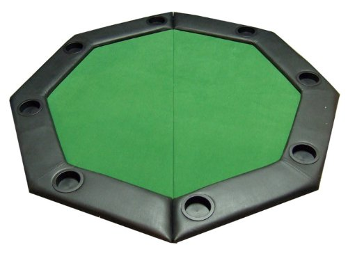 Padded Octagon Folding Poker Table Top w/ Cup Holders - GREEN