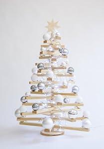 mia vico weihnachtsbaum stelo aus holz inkl kugeln und led lichterkette winterlich funkelndes. Black Bedroom Furniture Sets. Home Design Ideas