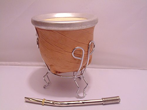 Handcrafted Yerba Mate Set : Leather Gourd Cup With Metal Trim + Stainless Steel Bombilla