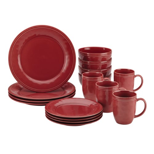 Rachael Ray Cucina 16-Piece Stoneware Dinnerware Set, Cranberry Red (Red Tableware compare prices)