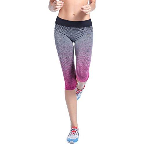 EOZY-Leggings Yoga Donna Capri Pantaloni Sportivi Color Gradient Ragazza Rosa