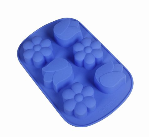 Jade Onlines 6-Cavity Adorable Tulip Flowers Shaped Ice/Cake/Chocolate/Sugar Decorating Silicone Mini Cube Craft Fondant Mold Tray(Send By Random Colour)