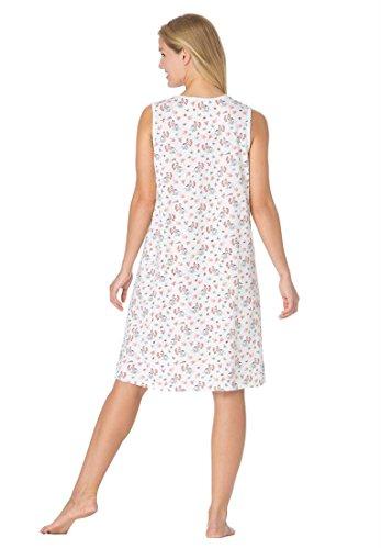 Dreams & Co. Women's Plus Size Sleeveless Print Henley Sleepshirt co e