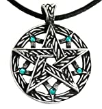 Pewter Pentagram Pagan Pendant w/5 Swarovski Crystal Blue Topaz December Birthstones, Leather Necklace