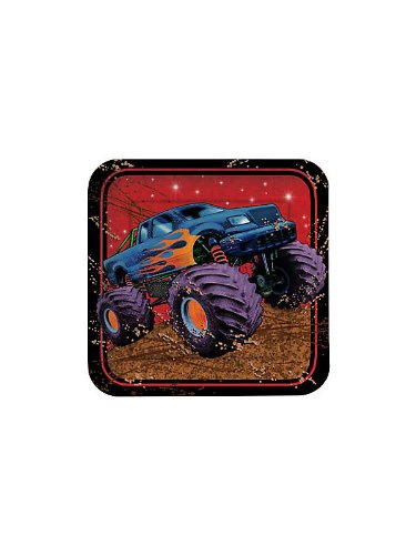 Creative Converting BB021366 Monster Truck Cake Plates - 8-Pack