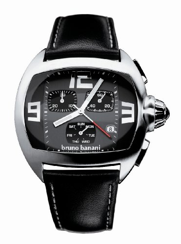 Bruno Banani Gents Black Chronograph Dial Watch with Black Leather Strap