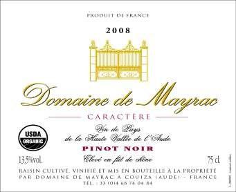 2008 Domaine De Mayrac Caractère Pinot Noir