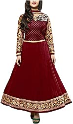 Shiv Fab Women's Georgette Unstitched Dress Material (Maroon)