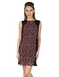 Aussehen Women's Crepe Floral Dress (AU 9005_L_Red)