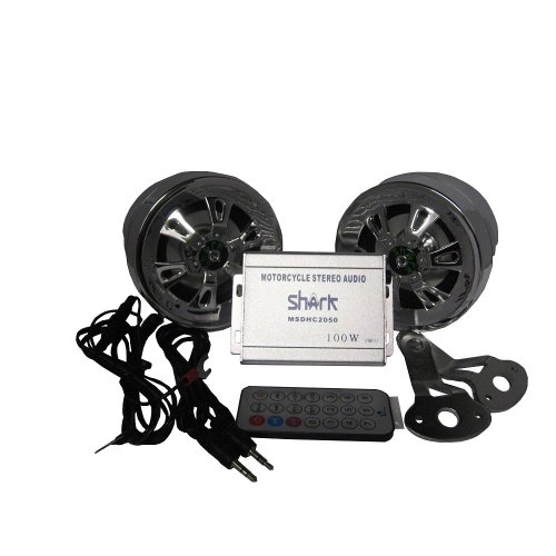 "Shark Motorcycle Audio Shkdhc2050A Motorcycle Snowmobile Audio Set. 100 W' Amp W/ 3"" Speakers Usb Sd"