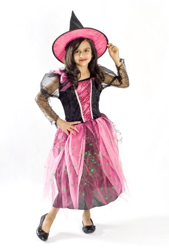 Witch Costume for Girls Black Light up Pink Size Small Medium Large 4-6, 6-8, 8-10