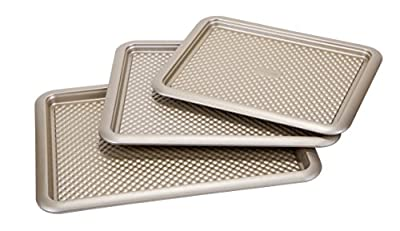"Art and Cook 3 Piece Non-Stick Carbon Steel Cookie Sheet Set, 14.5"" x 11""/16"" x 12.5""/18"" x 13"", Champagne"