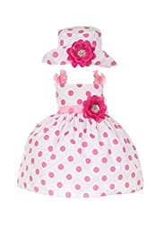 Cinderella Couture Baby Girls Polka Dotted Rockabilly Dress Hat Pink 6M S 1002